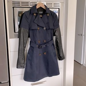 Mackage leather sleeve Trench XS navy/black